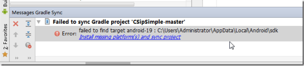 failed to sync gradle project CSipSimple-master