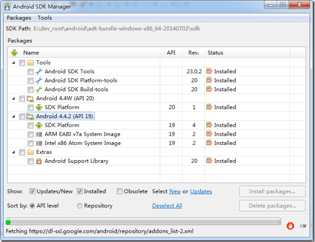 new adt bundle show api 19 android 4.4.2 installed