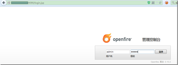 use admin admin to login openfire