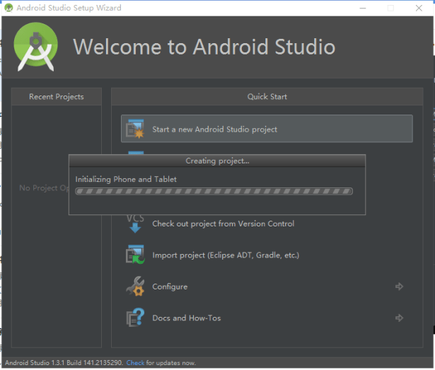 initializing phone and tablet for android studio