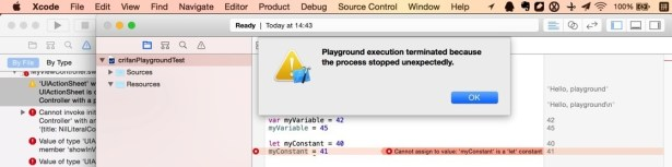 playground execution terminated because the process stopped unexpectedly