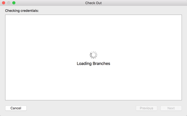 git check out ok loading branches