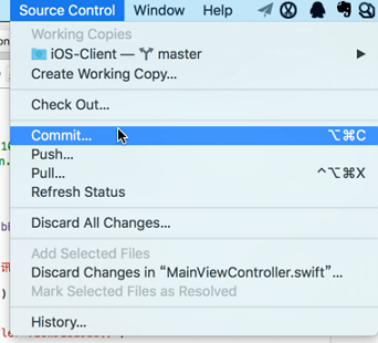 xcode source control commit
