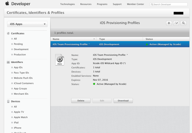 can see iOS Provisioning Profiles detail info