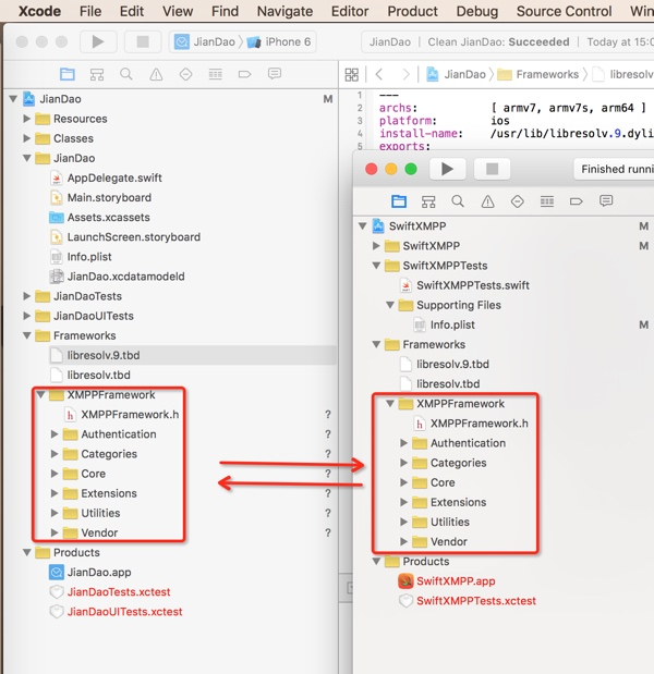 the two project files look same
