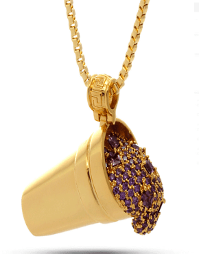 King Ice Jungl Julz 18K Gold Purple Drank Necklace