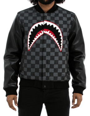 HUDSON Shark Mouth Varsity Jacket in Black