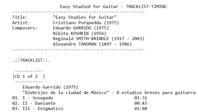 Easy Studied for Guitar - Recordings