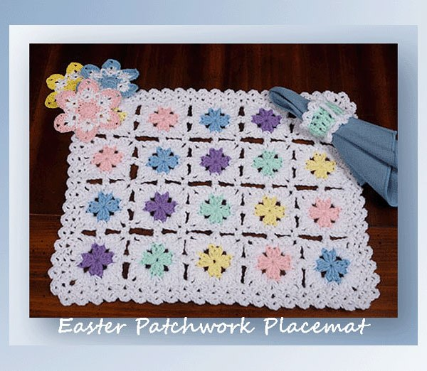 Free Printable Crochet Placemat Patterns : Easter Patchwork Placemat - Crochet Easter Patterns ...