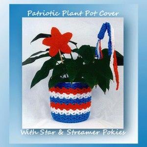 Patriotic Plant Pot Cover with Star & Streamer Pokies