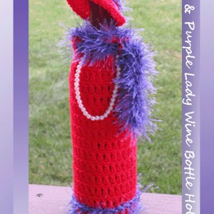 Red & Purple Lady Wine Bottle Holder