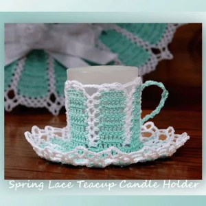 Spring Lace Teacup Candle Holder