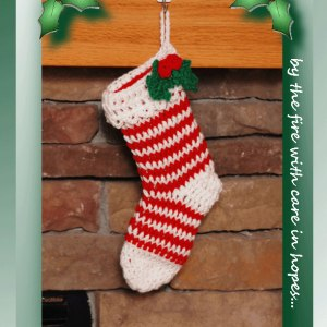 Holly Leaf Striped Stocking