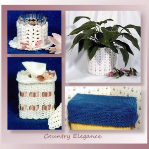 Country Elegance Bath Collection (tissue holder, candle holder, plant pot cover, & tank cover)