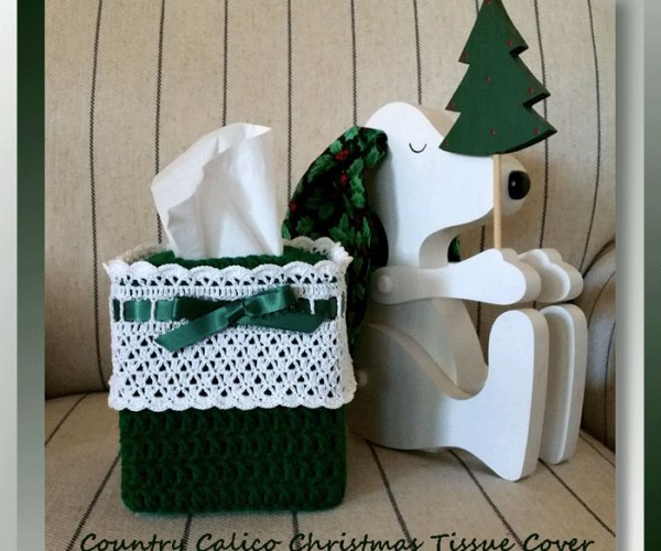 Country Calico Christmas Tissue Cover    <br /><br /><font color=