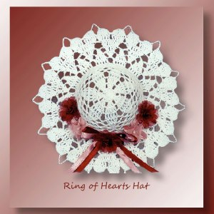 Ring of Hearts Hat - Crochet pattern for a petite decorative Valentine hat edged with dainty hearts