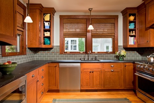 Black Soapstone Counters With Colorful Subway Tile