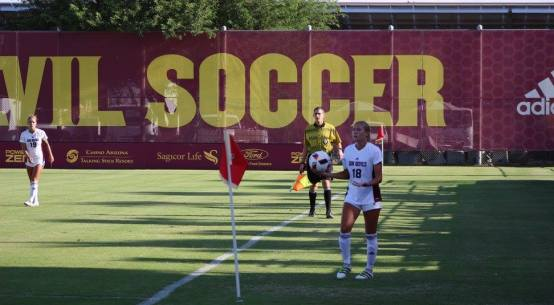 Arizona State freshman Hailey Zerbel waits for a throw in during the first half of the Sun Devils' 3-0 victory over Columbia on Friday, September 2, 2016 at Sun Devil Soccer Stadium in Tempe, AZ. Zerbel was all up and down the field all throughout the first half of the Sun Devils win. (John Mendoza/WCSN)