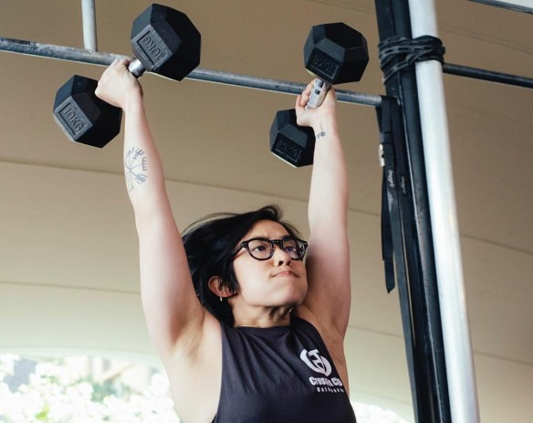 Cera getting her Dumbbell Skills on!1 . Pic: Niki Platis.