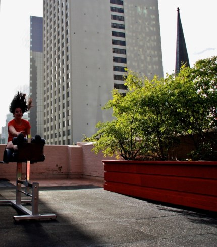 Our very own Coach Susan in action on the GHD. . A very different looking Rooftop Of Dreams wouldn't you say??