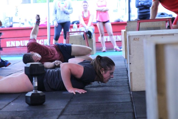 Steph getting after those Burpees. . Brendan in the background just got after his! . Pic: Angela Clancy