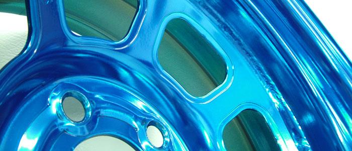 IMCA Chrome Wheel - Candy Blue Translucent