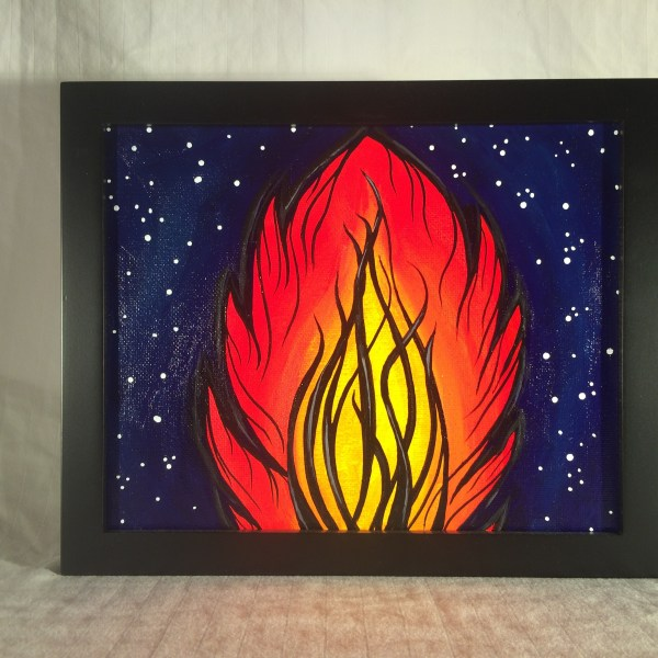 Space_Fire_Acrylic_on_Canvas_-_8x10_Painting_in_Black_Frame_by_Mark_Bray - 1