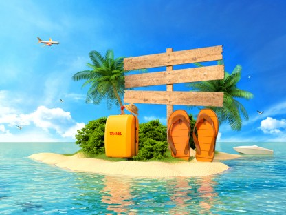 Vacation background. Beach with palm tree, suitcase and flip flops