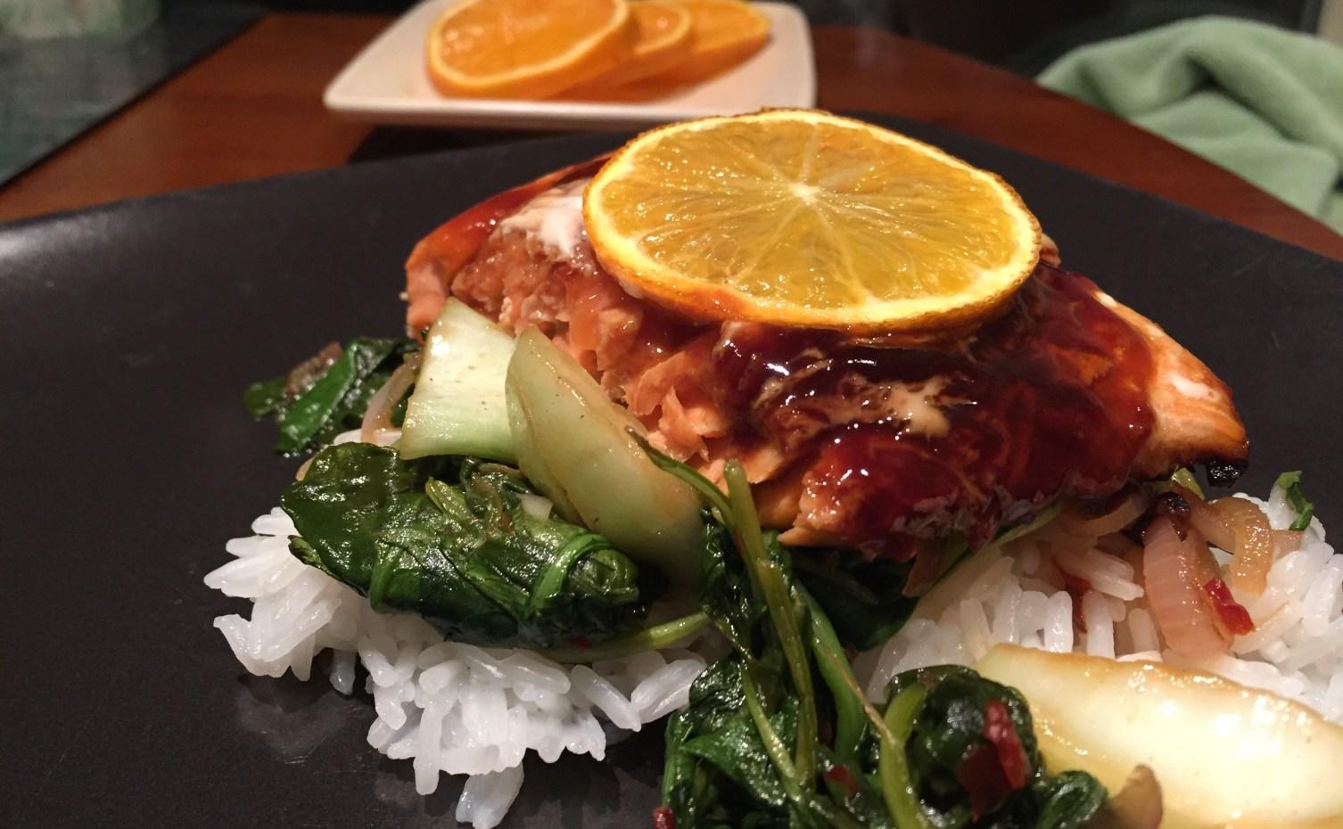 Orange Hoisin Glazed Salmon with Bok Choy Salad