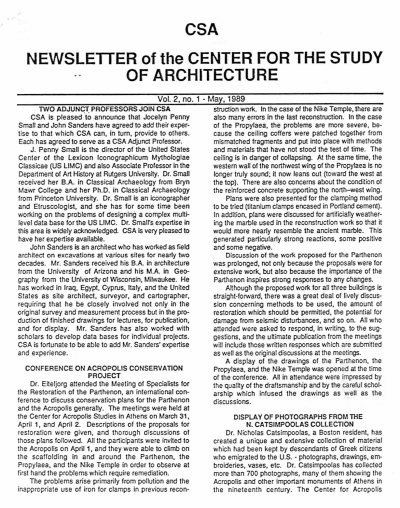 CSA Newsletter, May 1989: Page 1