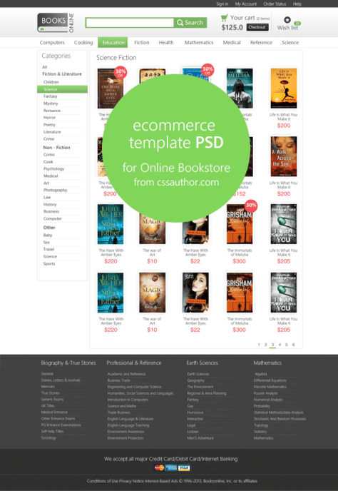 Online E-commerce Category Page Template PSD for Online Bookstore - cssauthor.com