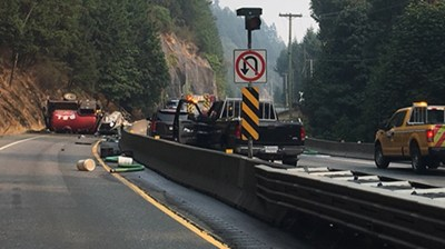 Malahat Highway reopens after morning crash that killed sewage truck driver | CTV News