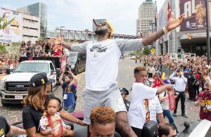 CLEVELAND, OH -  JUNE 22: LeBron James #23 of the Cleveland Cavaliers celebrates during the Cleveland Cavaliers 2016 championship victory parade and rally on June 22, 2016 in Cleveland, Ohio. (Photo by Jason Miller/Getty Images)