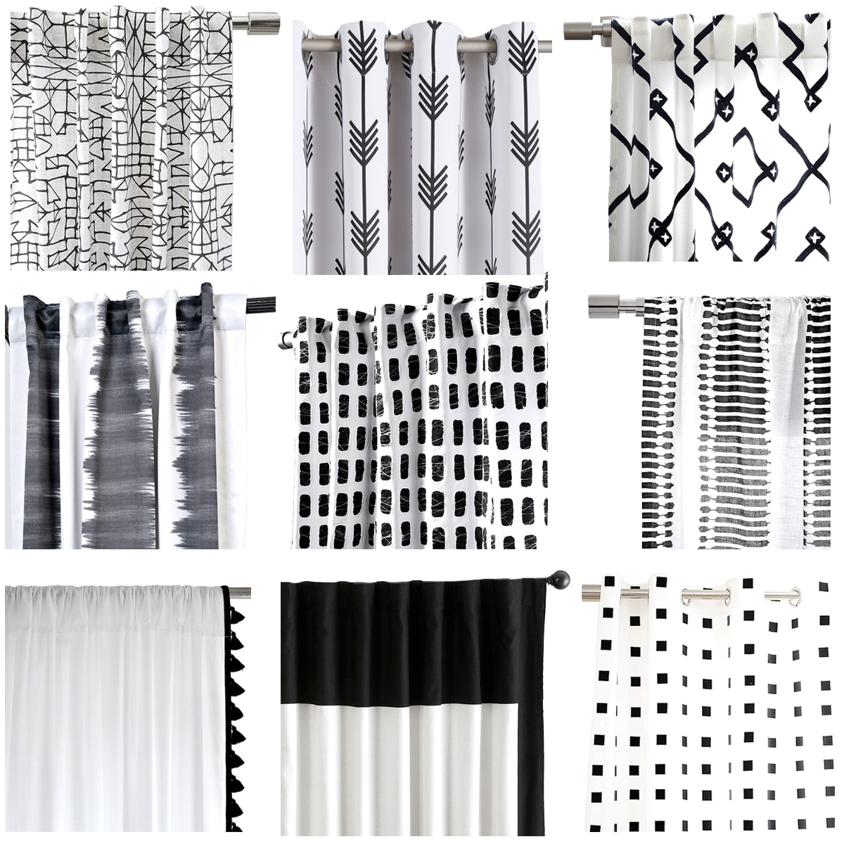Delighful Black And White Curtains E Inside Decorating Ideas
