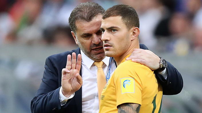 """SOCHI, RUSSIA - JUNE 19, 2017: Australia's head coach Angelos """"Ange"""" Postecoglou (L) and Australia's James Troisi in the 2017 FIFA Confederations Cup Group B football match between Germany and Germany at Fisht Stadium. Artyom Korotayev/TASS (Photo by Artyom KorotayevTASS via Getty Images)"""