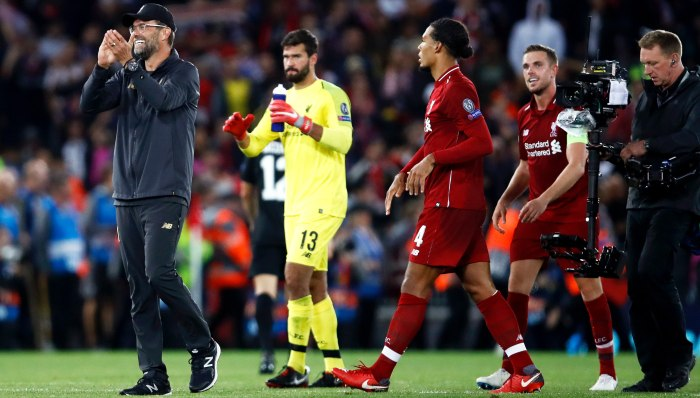 during the Group C match of the UEFA Champions League between Liverpool and Paris Saint-Germain at Anfield on September 18, 2018 in Liverpool, United Kingdom.