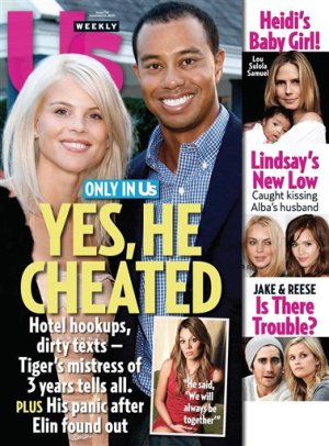 """In this magazine cover image released by US Weekly Magazine, the Dec. 14, 2009 issue of """"US Weekly"""" featuring Tiger Woods, is shown. The issue is available nationwide on newsstands on Friday, Dec. 4. (AP Photo/US Weekly)"""