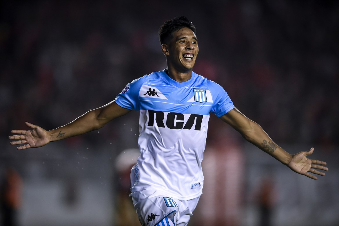 AVELLANEDA, ARGENTINA - FEBRUARY 23: Matias Zaracho of Racing Club celebrates after scoring the third goal of his team during a match between Independiente and Racing Club as part of Superliga 2018/19 at Estadio Libertadores de America on February 23, 2019 in Avellaneda, Argentina. (Photo by Marcelo Endelli/Getty Images)