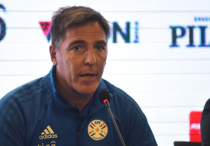 The new head coach of Paraguay's national football team Argentinian Eduardo Berizzo, speaks during his presentation at Paraguay's Football Association training center in Ypane, Paraguay on February 22, 2019. (Photo by NORBERTO DUARTE / AFP)