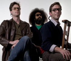 Tommy Smith, Reggie Watts, and Brendan Kiley in &quot;Dutch A/V.&quot; Photo by Sabine Theijs.