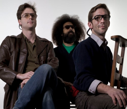 "Tommy Smith, Reggie Watts, and Brendan Kiley in ""Dutch A/V."" Photo by Sabine Theijs."