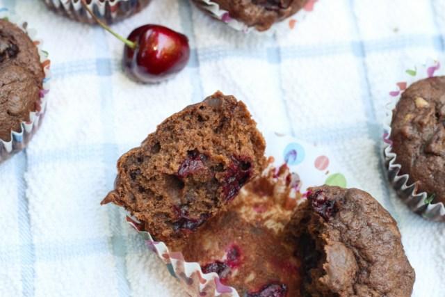 Chocolate Cherry Banana Muffins