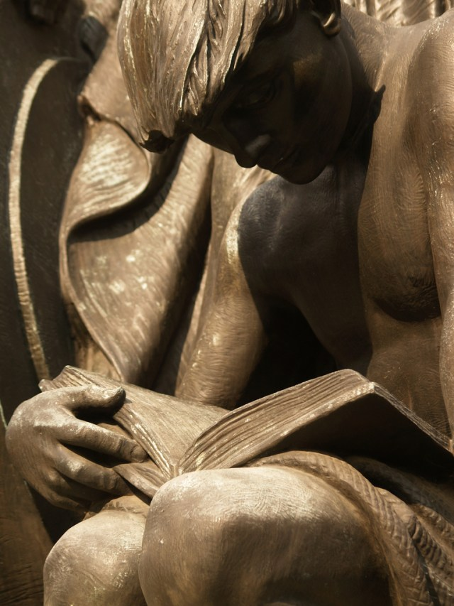 Young Man Reading: Detail Of Robert I. Aitken's 1933 Bronze Samuel Gompers Memorial (Washington, DC)