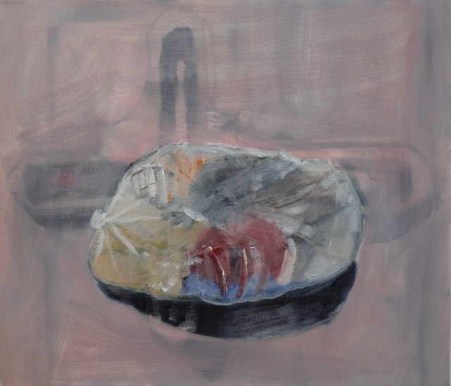 Crucified Clothes, 2014, Oil and graphite on canvas, 12 x 14 inches