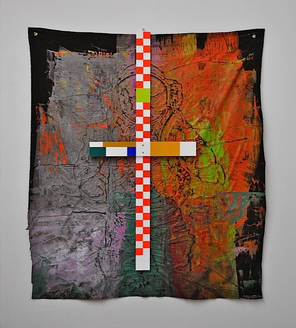"""""""Middle"""" 2013 canvas, pvc, reflective vinyl 68""""/57"""""""