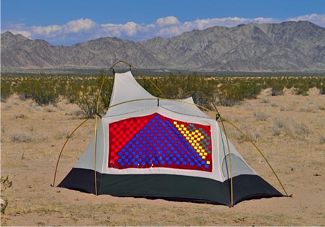 """Primary Nomad"" reflective vinyl, red vinyl, tent 2014"