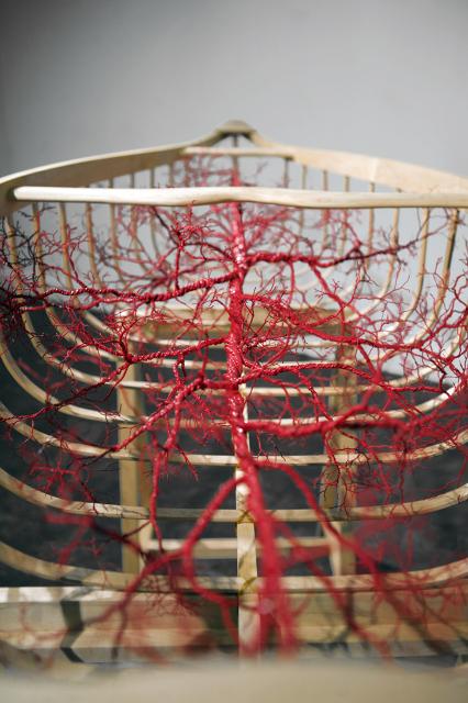 """Blood & Bone"" Maple, copper wire, rubber, paint"