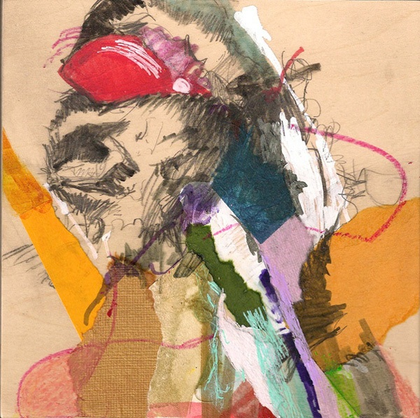 """""""Visual Diary #17"""" Mixed media, collage on wood panel, 6x6, 2011"""