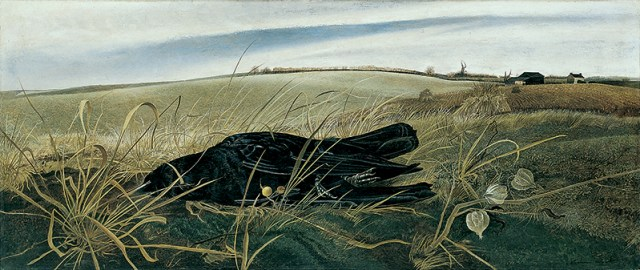 """Winter Fields,"" 1942. Tempera on canvas, 17 1/4 × 41 in. (43.8 × 104.1 cm).  Whitney Museum of American Art, © Andrew Wyeth"