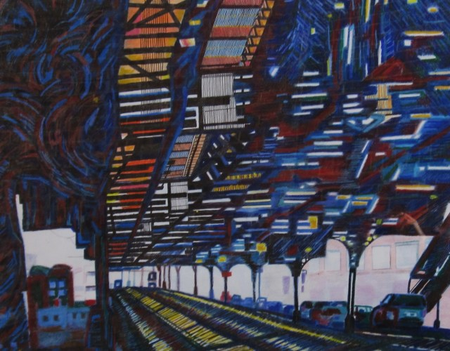 Visions Under A Manhattan Subway, 2013 Oil pastel, colored pencil, wax